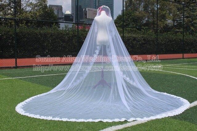 Real Sample Luxurious wedding veil long Lace Appliques 400CM Length 300CM Width White Ivory voile mariage wedding veils veu