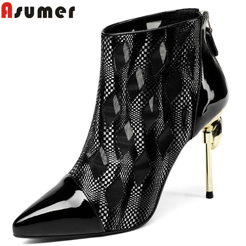 цена на ASUMER black fashion ankle boots women pointed toe thin high heels boots elegant genuine leather boots rhinestone ladies shoes