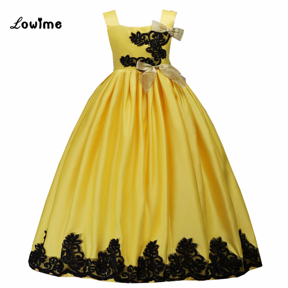 Pretty   Flower     Girl     Dresses   For Weddings 2017 Yellow   Girls   Pagneant   Dress   First Communion   Dresses   For   Girls   Kids Prom   Dresses