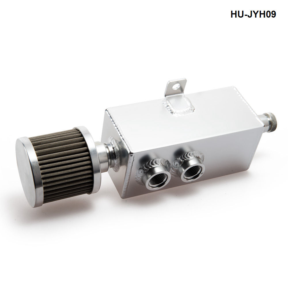 1L Car Natural Universal Raw Aluminum Oil Catch Can Tank Fuel Tank With Breather Drain Tap HU-JYH09-AF baldwin bf7949 dm secondary fuel element with removable drain