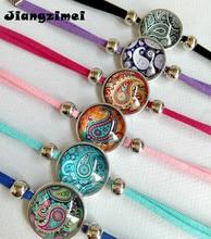 Jiangzimei 24 teile/los Bandana Paisley Mandala Blume armbänder Ethnische Retro Stil Glas cabochon Leder Armband paty geschenk