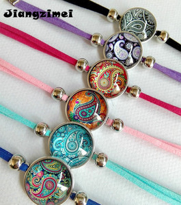 Image 1 - Jiangzimei 24 teile/los Bandana Paisley Mandala Blume armbänder Ethnische Retro Stil Glas cabochon Leder Armband paty geschenk