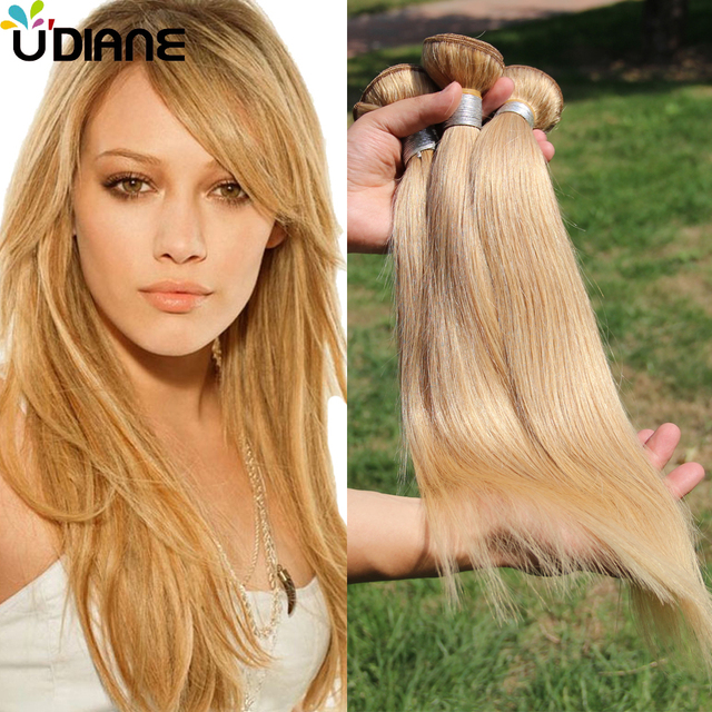 Straight Honey Blonde Brazilian Hair Weave 3 Bundles Color 27 Virgin