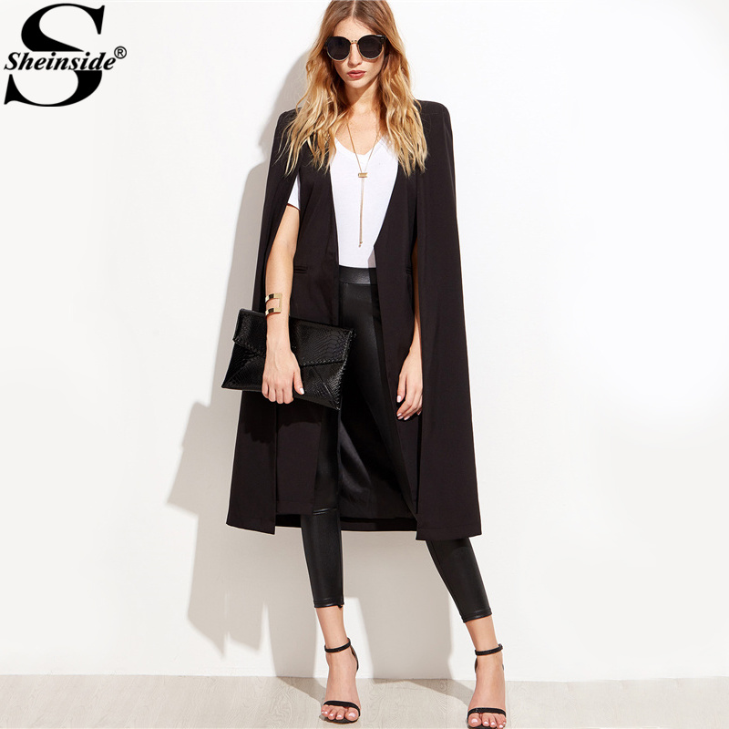 Sheinside Elegant Longline Cape Blazers Black Open Front Women Vintage Coat 2017 Autumn Fashion Slim Pocket Blazer
