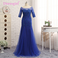 Dressgirl Royal Blue 2017 Mother Of The Bride Dresses Mermaid Half Sleeves Tulle Beaded Evening Dress Mother Dresses For Wedding