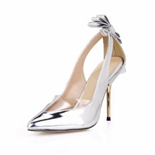 2019 women mujer Pointed Toe Butterfly knot Patent Leather dress wedding prom high heel shoes for ladies pumps 3845D-7d