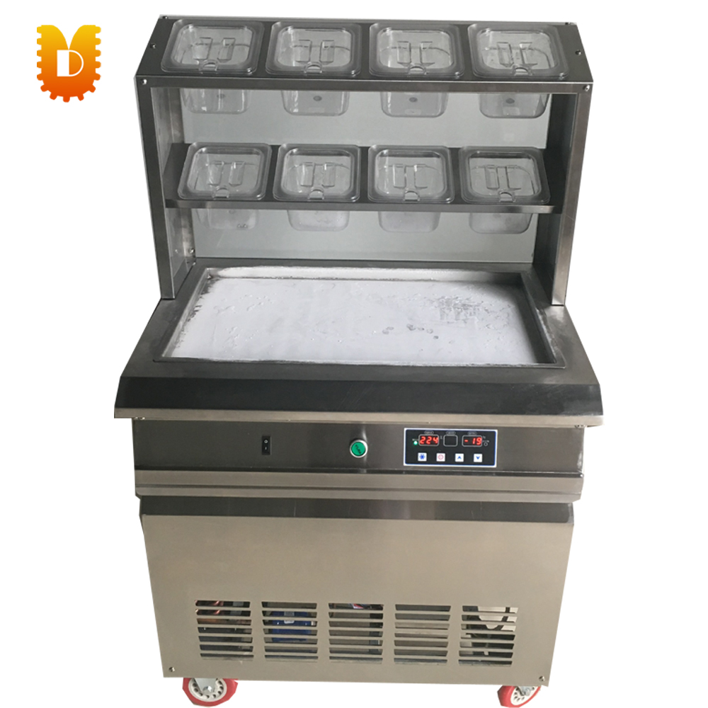 rectangular pan intelligent ice fryer fried yogurt machine square pan rolled fried ice cream making machine snack machinery