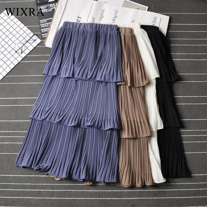 Wixra 2019 New Spring Summer Ruffles Pleated Skirts High Waist Solid Sweet Elegant Mid-Calf Skirt Streetwear For Ladies