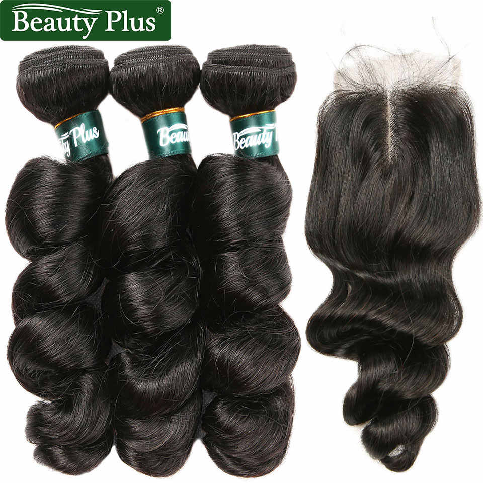 Peruvian Loose Wave Bundles With Closure Middle Part Beauty Plus Nonremy Human Hair Weave Spiral Curly 3 Bundles With Closure