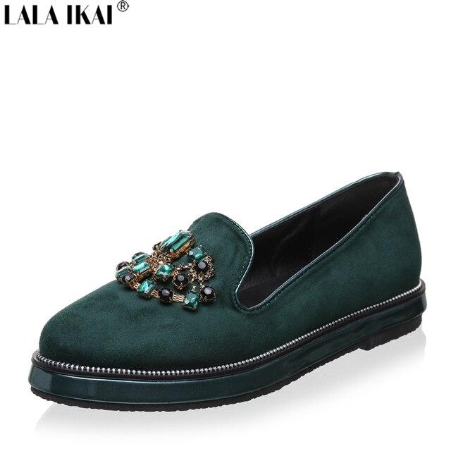 a544272d6fabd LALA IKAI Women Flats Loafers Rhinestone Flat Shoes Women Slip on Shoes for Women  Suede Leather XWA0301-5