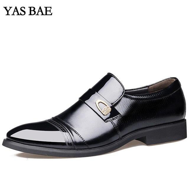 809ba181d Masculino China Estilo de Moda Vestido De Couro Da Marca italiana  Escritório Social Formal Sapato Preto