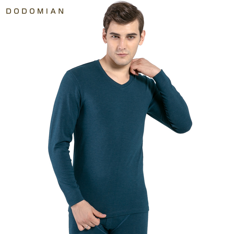DO DO MIAN Autumn Men Bottom Thermal Underwear Cotton Warm v Neck Soft Casual Long John