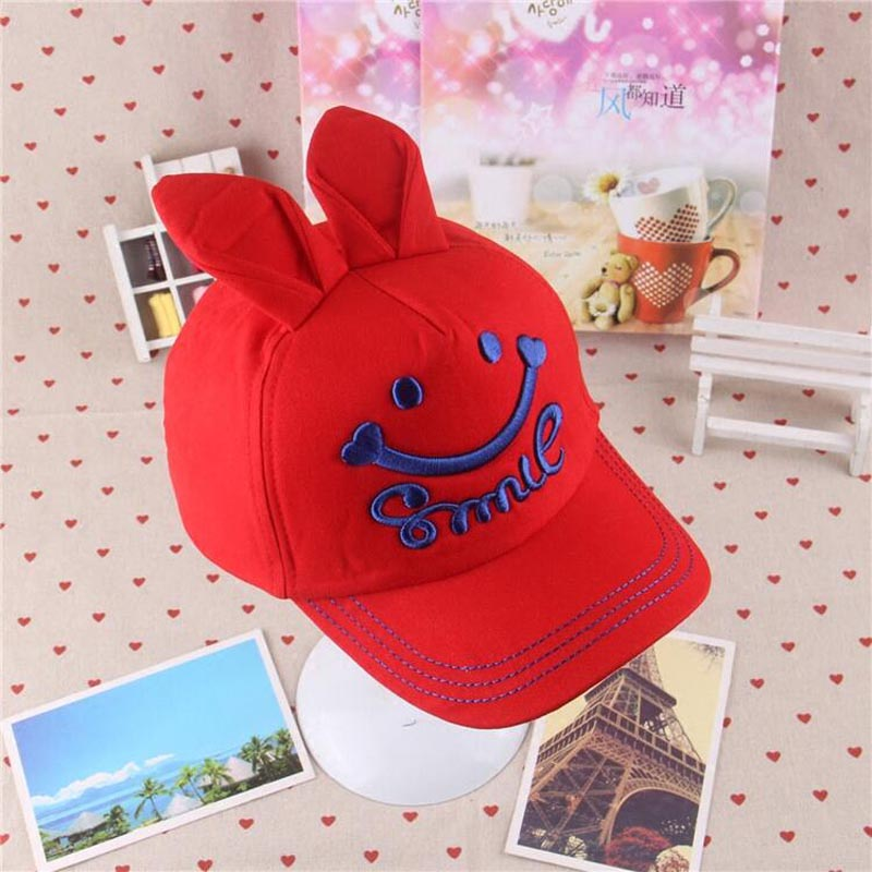 2017 New Children Boys&Girls Summer Smile Embroidery Baseball Caps Hip Hop Cap Adjustable Snapback Caps