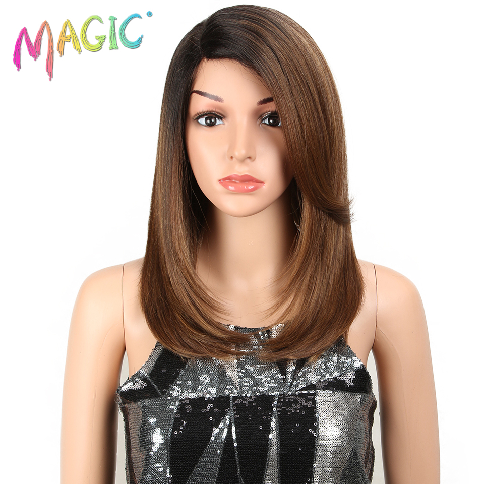 MAGIC For Black Women <font><b>18</b></font> Inch Straight Hair U Part Elastic Lace Synthetic Wigs Cosplay Wig Natural Color Synthetic Lace Wig image