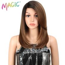 Peluca mágica para mujeres negras 18 pulgada cabello liso U parte elástica encaje sintético pelucas Cosplay peluca Color Natural encaje sintético
