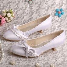 Wedopus Оптовые Женщины Насосы Низком Каблуке Круглый Toe White Satin Свадебная Обувь Бабочкой