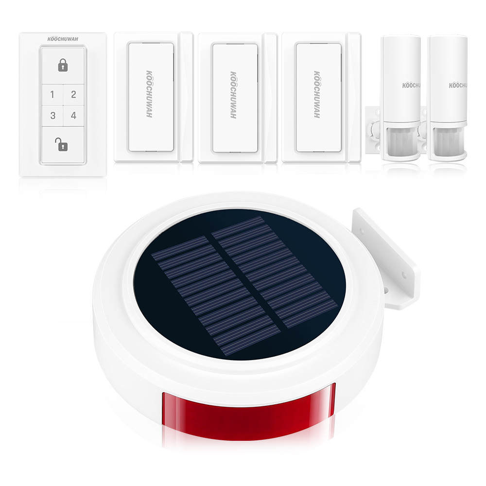 Alarme sans fil GSM système d'alarme de sécurité à domicile sirène stroboscopique solaire détecteur de mouvement d'alarme pour la maison/RV/Camping KOOCHUWAH