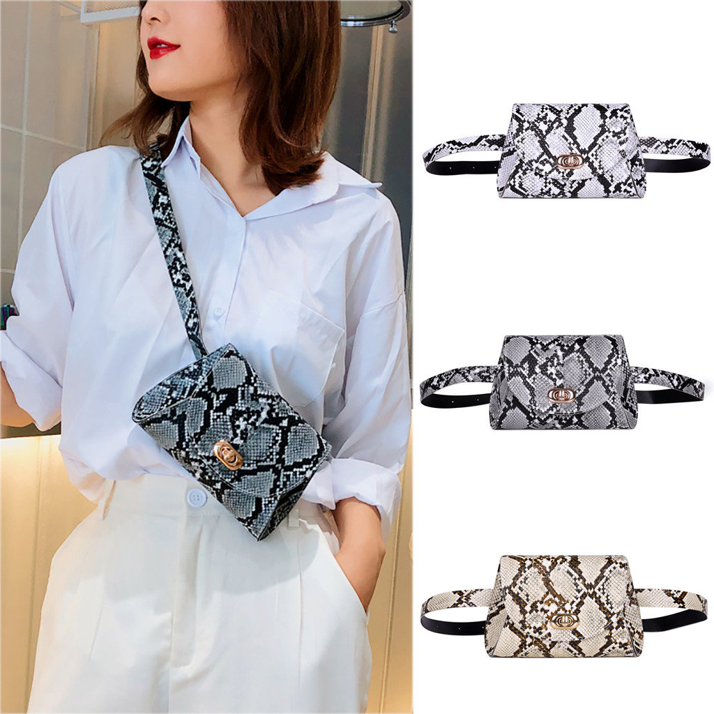 Women Storage Pocket Chest Bag Snake Serpentine Printed Fanny Pack Adjustable Band Travel Shopping Chest Hip Belt Bags Handbag
