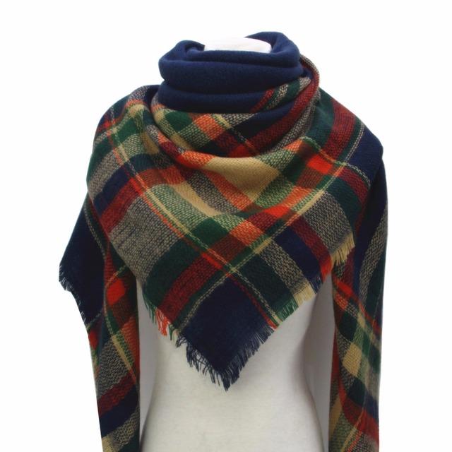 Infinito Inverno Grande Lenço Quadrado das mulheres Clássico Xadrez Cachecol Grande Wraps Macio Xaile Kint Cashmere para o Presente