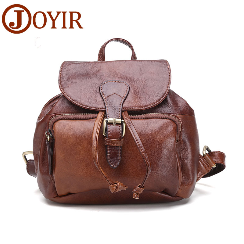 Luxury Genuine Leather Vintage Women Small Backpack High Quality Designer Cowhide Women Shoulder Bag Travel Backpack