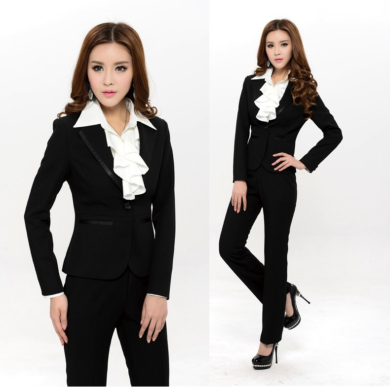 Plus Size XXXL Formal Pantsuits Fashion Elegant Black 2015 New Spring Summer Womens Work Wear Pants Suits Uniform Blazers Set