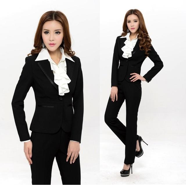 Plus Size XXXL terninhos formais preto elegante 2015 nova primavera verão mulheres conjunto de calças de uniforme desgaste do trabalho