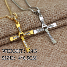 Hot Movie The Fast and the Furious 8 Cross Pendant Necklace  Hard Gas Actor Dominic Toretto Men Gift For Your Boyfriend