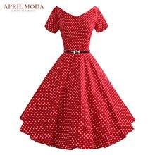 50 s D été Vintage Robe Audrey Hepburn Style À Manches Courtes Polka Dot  Plus 5485b9a18
