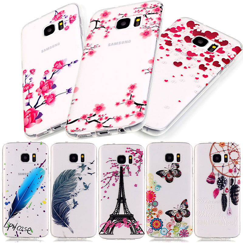 Transparent Clear Cover For Samsung Galaxy S7 / S7 edge / A3 2016 A310 Case Soft Silicone TPU Flower Phone Coque For Samsung S7