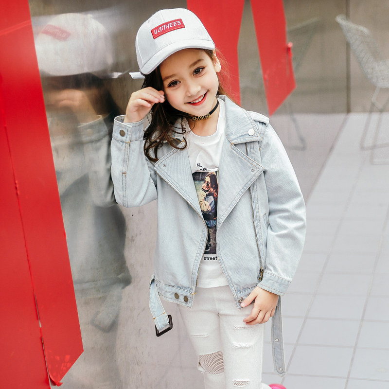 2018 Baby Girls Denim Jacket Jeans Outwear Light Color Cool Fashion Short Design Coat for Age4 5 6 7 8 9 10 11 12T Years Old sokotoo men s colored painted snake 3d print jeans fashion black slim stretch denim pants