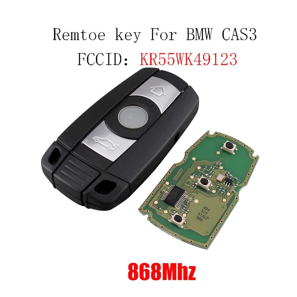 3 boutons 868 mhz Remtoe Clé pour BMW Système CAS3 pour 1/3/5/7 Série X5 x6 Z4 2002-2012 KR55WK49123 PCF7945 Puce Clé De Voiture D'origine