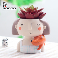 Roogo Modern 4item Succulent Plant Pot Planter Flowerpot Cute Girl Flower Creat Design Home Garden Bonsai Pots Birthday Gift