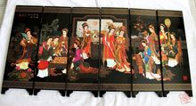 Chinese Boutique collection Lacquer ware painting beauty folding screen-A dream of red mansions twelve beauties