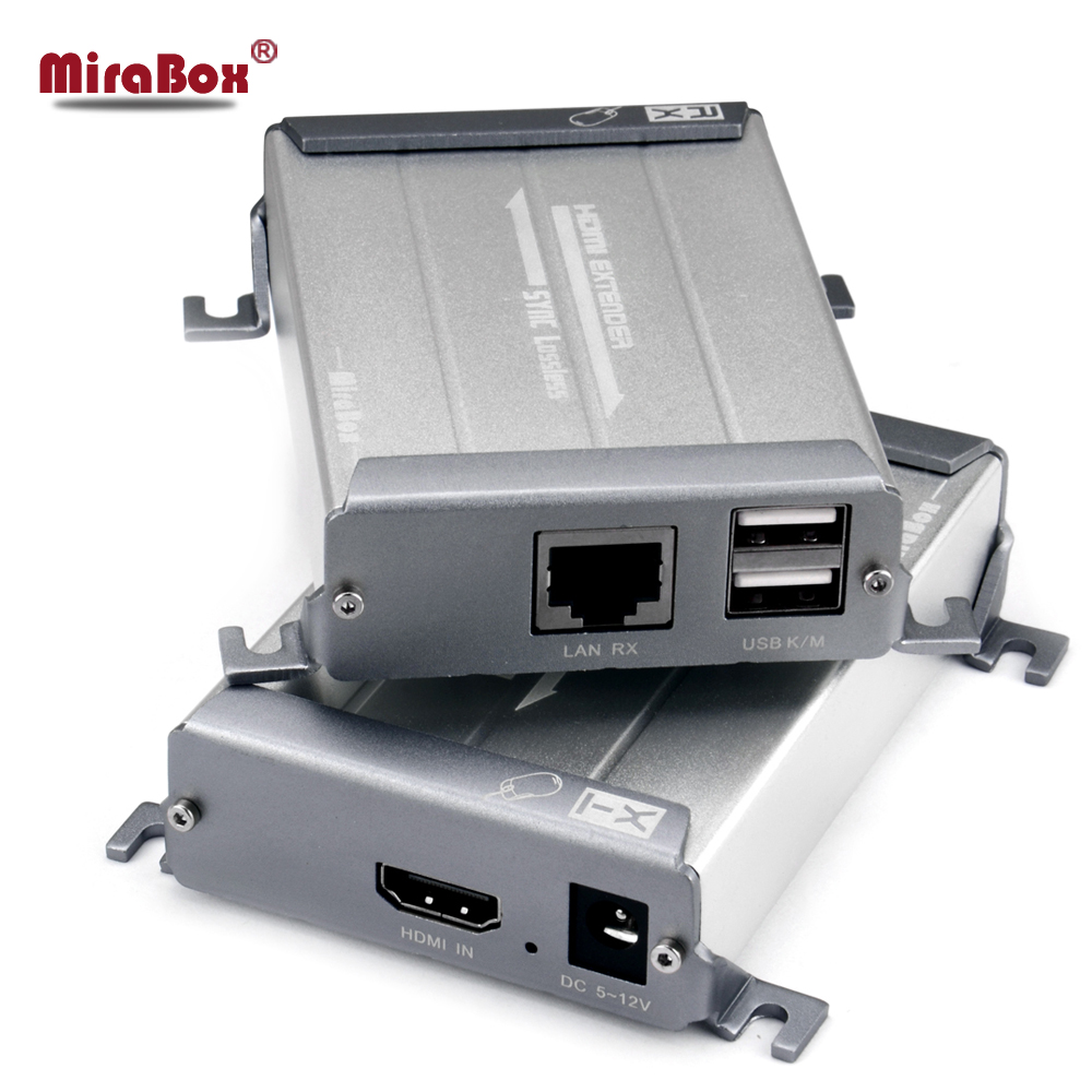 Mirabox KVM HDMI Extender support 1080p and lossless & non-delay HDMI Extender over cat5 POE function with keyboard control hsv379 sdi hdmi extender with lossless and no latency time over coaxial cable up to 200 meters support 1080p hdmi extender