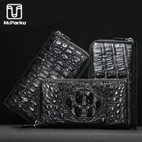 McParko Men Wallet Genuine leather Crocodile Clutch Wallet Alligator Skin Leather Purse Zipper Luxury Brand minimalist wallet