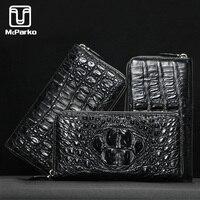 McParko Men Wallet Genuine leather Crocodile Clutch Wallet Alligator Skin Leather Purse Zipper Luxury Brand minimalist wallet