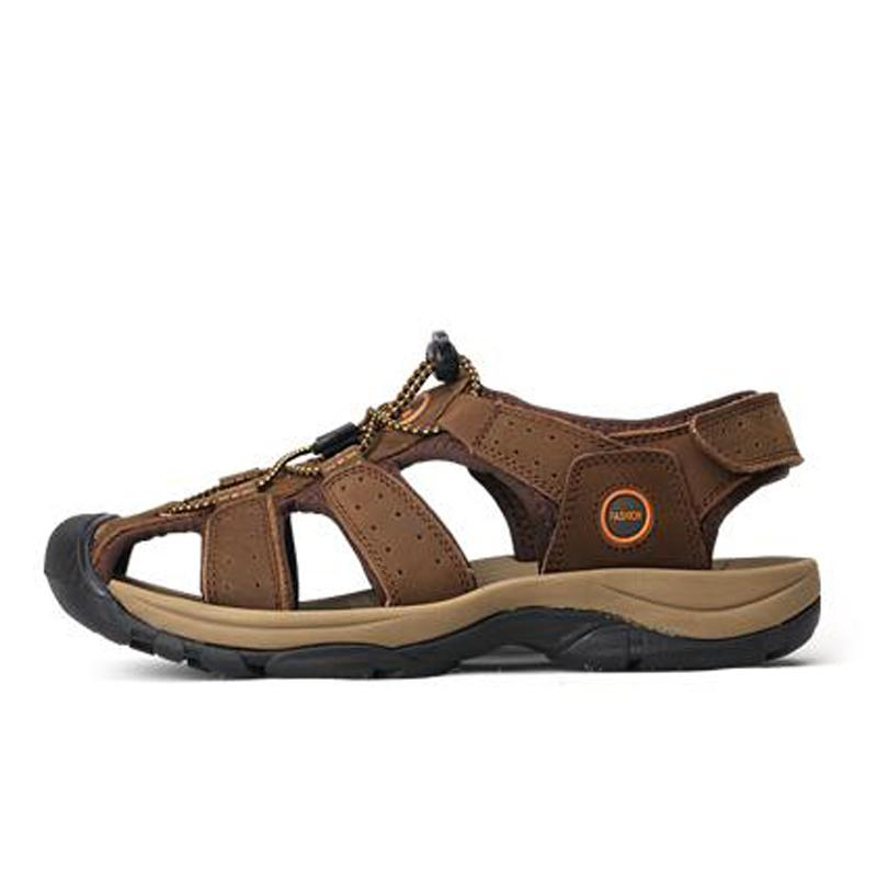 ROEGRE Brand Leather Shoes Summer New Large Mens Sandals Men Sandals Fashion Sandals And Slippers Big Size 38-47