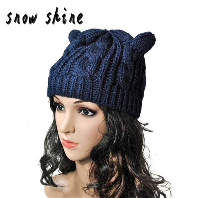 snowshine #4503  Women Winter Beanie Devil Horns Cat Ear Crochet Braided Knit 2017 Wool Cap Hat free shipping футболка toy machine devil cat black