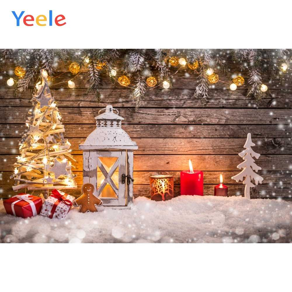 Yeele Christmas Tree Snow Lamp Gifts Wooden Board Photocall Baby Photography Backgrounds Photographic Backdrops for Photo Studio