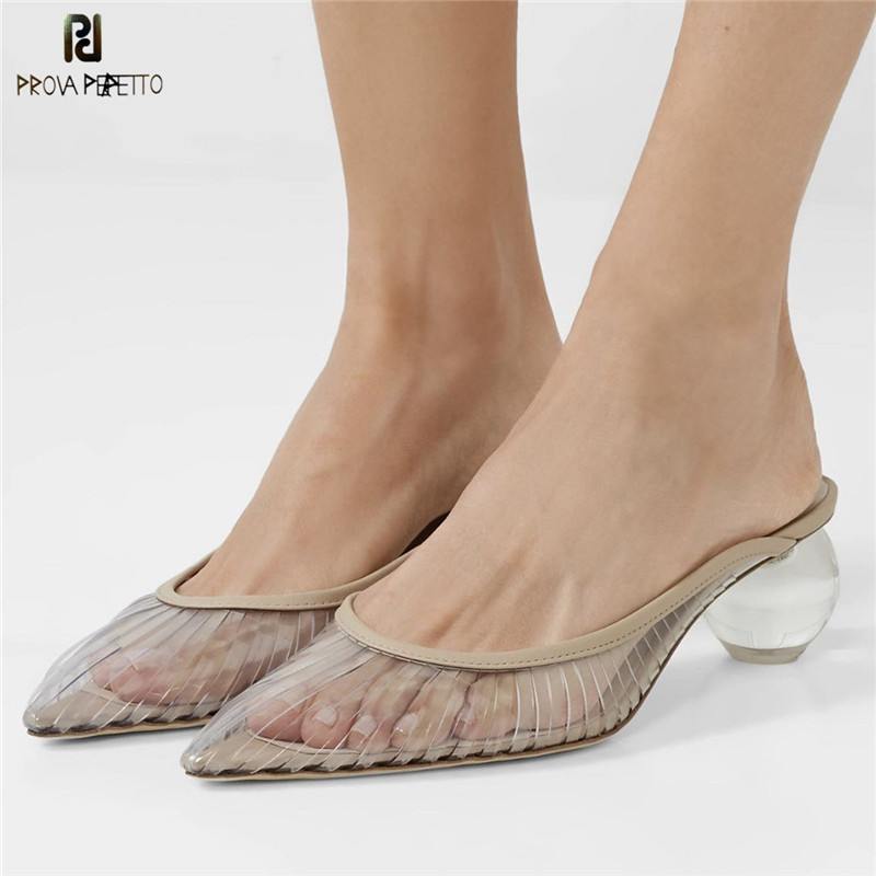 Prova Perfetto 2019 clear slippers women crystal round ball heels pointed toe summer shoes strange style
