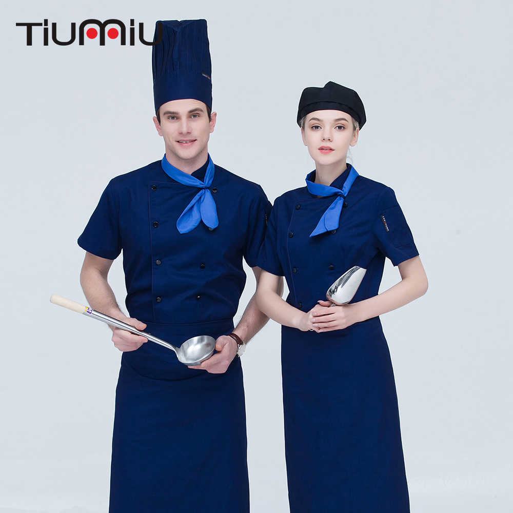 New Arrival High Quality Women Men Short-sleeved Double Breasted Kitchen Restaurant Cooker Waiter Workwear Chef Uniform With Tie