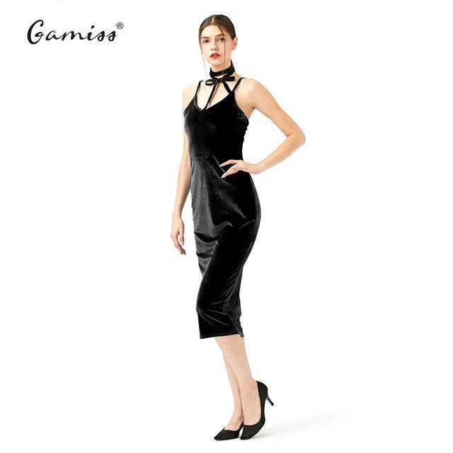 9982ba39d146 Gamiss Woman Velvet Slip new arrival V neck tight dress woman basic bodycon  summer midi dress