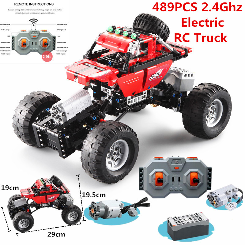 Legoing technic Electric RC Truck 2.4Ghz Building Block RC Car 4 Driving Force compatible with Remote Control 489 PCS Kids GiftsLegoing technic Electric RC Truck 2.4Ghz Building Block RC Car 4 Driving Force compatible with Remote Control 489 PCS Kids Gifts