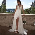 Scoop Neck Sleeveless Sexy See Through Wedding Dress  Chiffon Bridal Dresse  Appliques Side Split Vestido De Noiva  1339