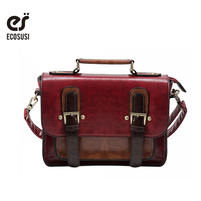 5bb64efb046a ECOSUSI Vintage Satchel Women Messenger Bags Retro Women Briefcase Crossbody  Top Quality Women Leather Handbags Women Bag