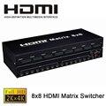 Качество 8X8 HDMI Матричный Коммутатор 8 В 8 Из HDMI Splitter 4 К 1.4b HDMI Матричный Коммутатор С RS-232 Поддержка HDCP1.4