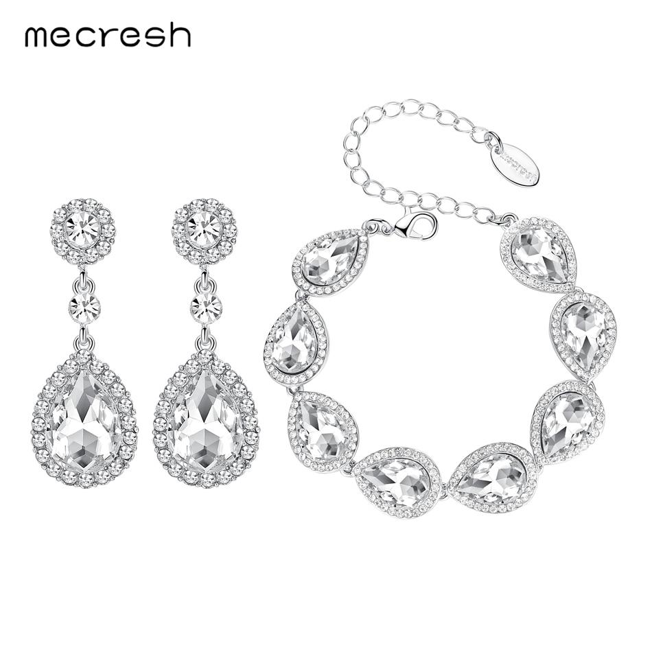 Mecresh Silver Color Teardrop Crystal Bridal Bracelet Earrin