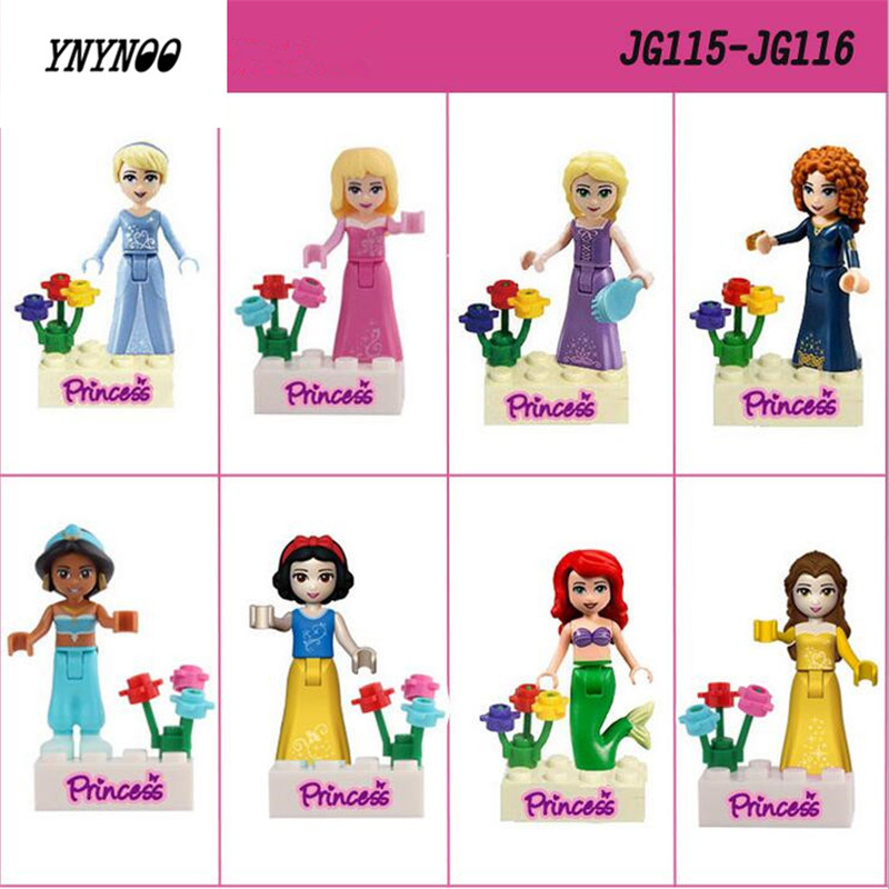 YNYNOO 8pcs Action Toys Fairy Tale Snow Princess Girl Friends Model Building Doll  Bricks Blocks Kid Toy for the child Gifts 8 in 1 military ship building blocks toys for boys
