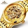 AESOP Fashion Gold Dragon Pattern Automatic Mechanical Watch Men Sapphire Crysta Hollow Wristwatch Male Clock Relogio