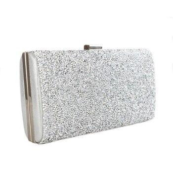 Scione Women Evening Bag Luxury Black/Silver Wedding Party Bag Diamond Rhinestone Clutches Crystal Bling Gold Clutch Bag Purses